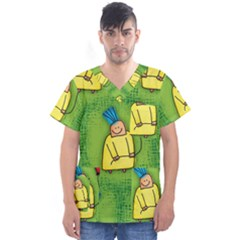 Seamless Repeating Tiling Tileable Men s V Neck Scrub Top