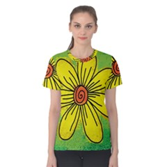 Flower Cartoon Painting Painted Women s Cotton Tee