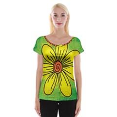 Flower Cartoon Painting Painted Cap Sleeve Tops