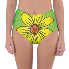 Flower Cartoon Painting Painted Reversible High Waist Bikini Bottoms