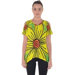 Flower Cartoon Painting Painted Cut Out Side Drop Tee