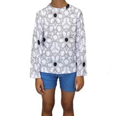 Pattern Zentangle Handdrawn Design Kids  Long Sleeve Swimwear