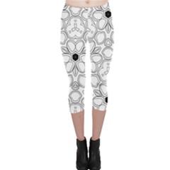 Pattern Zentangle Handdrawn Design Capri Leggings