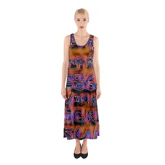 Words Sleeveless Maxi Dress