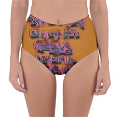 Words Reversible High Waist Bikini Bottoms