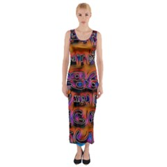 Words Fitted Maxi Dress