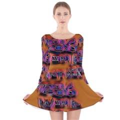 Words Long Sleeve Velvet Skater Dress
