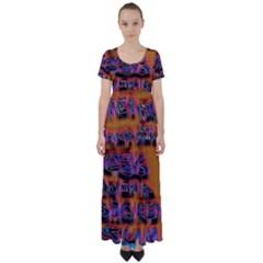 Words High Waist Short Sleeve Maxi Dress