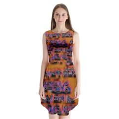Words Sleeveless Chiffon Dress