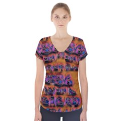 Words Short Sleeve Front Detail Top