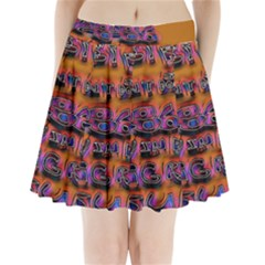 Words Pleated Mini Skirt