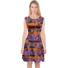 Words Capsleeve Midi Dress