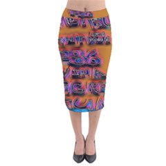 Words Velvet Midi Pencil Skirt