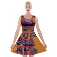 Words Velvet Skater Dress