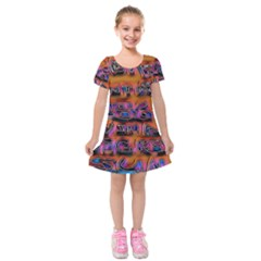 Words Kids  Short Sleeve Velvet Dress