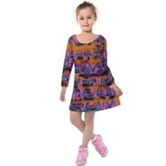 Words Kids  Long Sleeve Velvet Dress