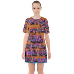 Words Sixties Short Sleeve Mini Dress