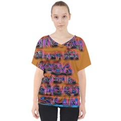 Words V Neck Dolman Drape Top
