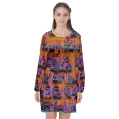 Words Long Sleeve Chiffon Shift Dress