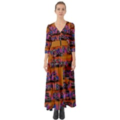 Words Button Up Boho Maxi Dress