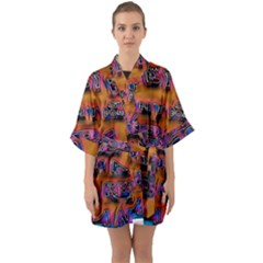 Words Quarter Sleeve Kimono Robe