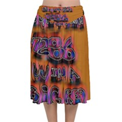 Words Velvet Flared Midi Skirt