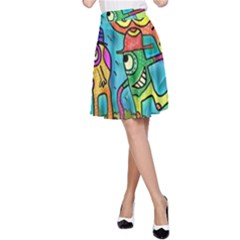Painting Painted Ink Cartoon A Line Skirt