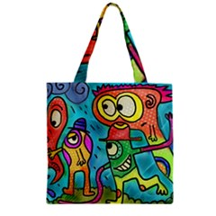 Painting Painted Ink Cartoon Zipper Grocery Tote Bag