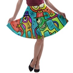Painting Painted Ink Cartoon A Line Skater Skirt