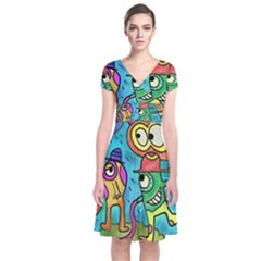 Painting Painted Ink Cartoon Short Sleeve Front Wrap Dress