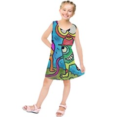 Painting Painted Ink Cartoon Kids  Tunic Dress