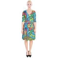 Painting Painted Ink Cartoon Wrap Up Cocktail Dress