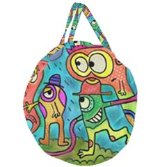 Painting Painted Ink Cartoon Giant Round Zipper Tote