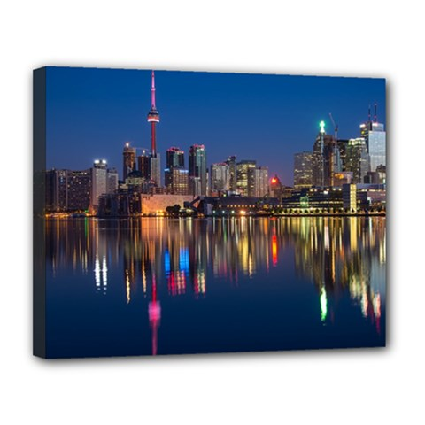 Buildings Can Cn Tower Canada Canvas 14  X 11