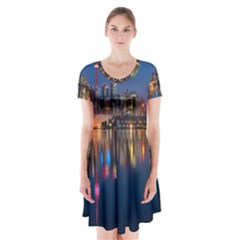 Buildings Can Cn Tower Canada Short Sleeve V Neck Flare Dress