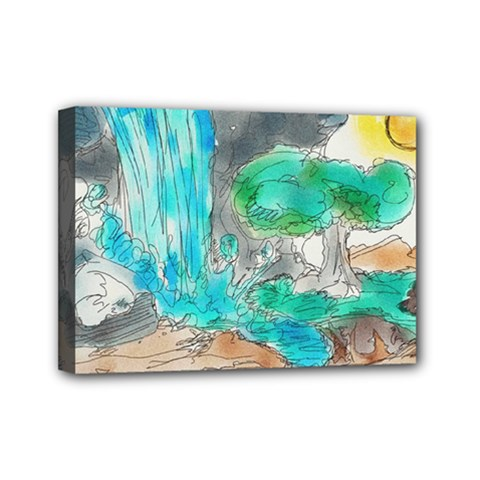 Doodle Sketch Drawing Landscape Mini Canvas 7  X 5