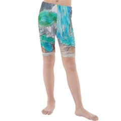 Doodle Sketch Drawing Landscape Kids  Mid Length Swim Shorts