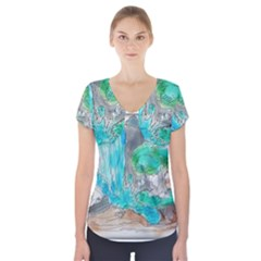 Doodle Sketch Drawing Landscape Short Sleeve Front Detail Top