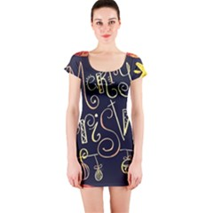 Chalk Chalkboard Board Frame Short Sleeve Bodycon Dress