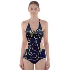Chalk Chalkboard Board Frame Cut Out One Piece Swimsuit