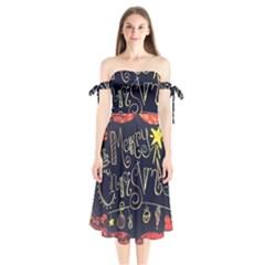 Chalk Chalkboard Board Frame Shoulder Tie Bardot Midi Dress