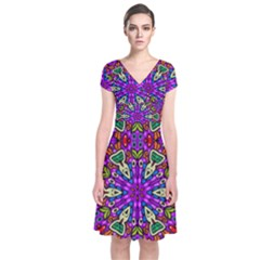 Seamless Tileable Pattern Design Short Sleeve Front Wrap Dress