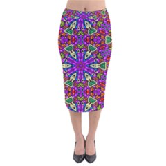 Seamless Tileable Pattern Design Velvet Midi Pencil Skirt
