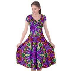 Seamless Tileable Pattern Design Cap Sleeve Wrap Front Dress