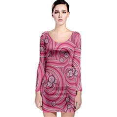 Pattern Doodle Design Drawing Long Sleeve Bodycon Dress