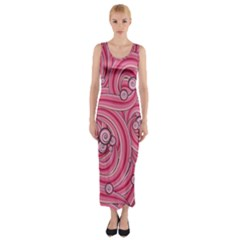 Pattern Doodle Design Drawing Fitted Maxi Dress