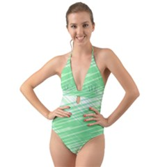 Dirty Dirt Structure Texture Halter Cut Out One Piece Swimsuit