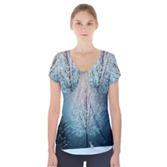Winter Wintry Snow Snow Landscape Short Sleeve Front Detail Top