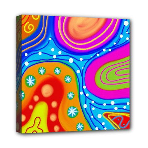 Abstract Pattern Painting Shapes Mini Canvas 8  X 8