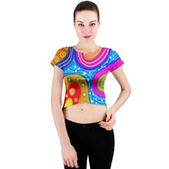 Abstract Pattern Painting Shapes Crew Neck Crop Top